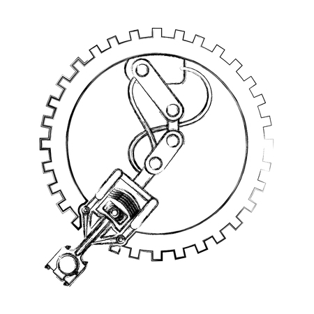 industry automotive robotic arm gear technical vector illustration hand drawing