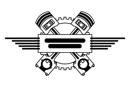 crossed pistons gear engine industry automotive vector illustration 向量圖像