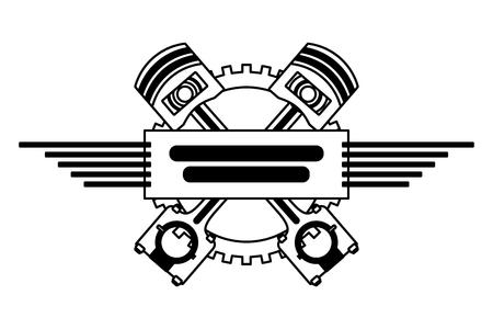 illustrazione vettoriale automobilistica dell'industria del motore ad ingranaggi a pistoni incrociati