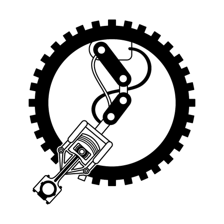 industry automotive robotic arm gear technical vector illustration Banque d'images - 111927470