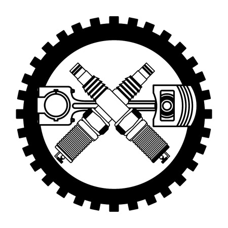 industry automotive piston and spark plugs gear mechanic vector illustration Ilustração
