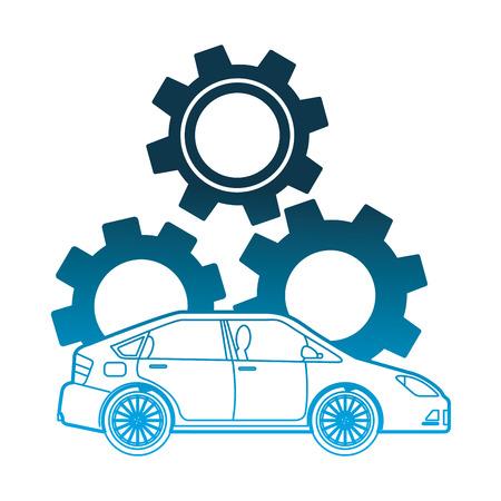 car gear engine industry automotive vector illustration neon design