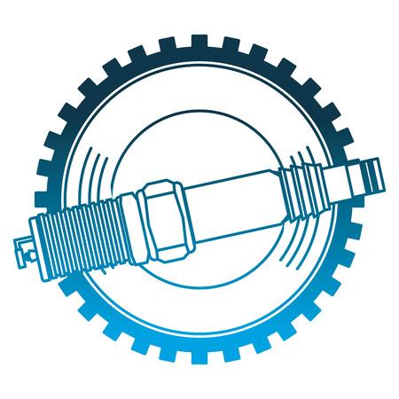 spark plug spare part industry automotive vector illustration neon design
