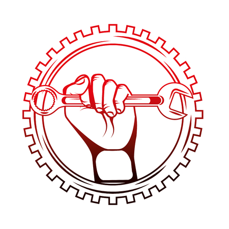 hand holding wrench tool gear industry automotive vector illustration red neon