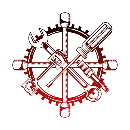industry automotive tools wrench piston plug screwdriver gear vector illustration red neon Stock Illustratie