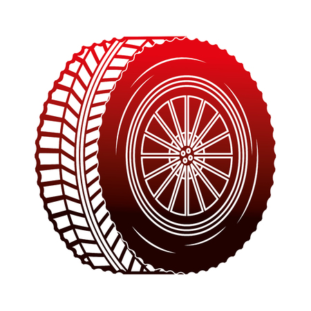 industry automotive wheel car part vector illustration red neon