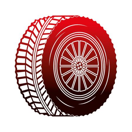 przemysł motoryzacyjny koło części samochodowej ilustracja wektorowa czerwony neon