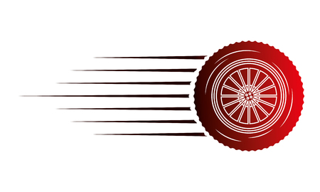 industry automotive wheel car part fast speed vector illustration red neon