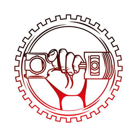 hand holding piston car industry on gear vector illustration red neon