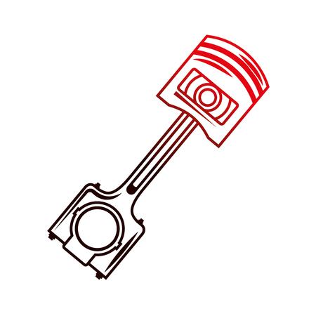 industry automotive piston part engine vector illustration red neon