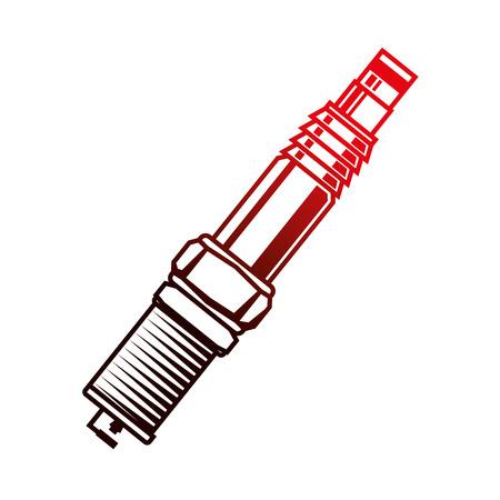 Bougie d'allumage de l'industrie automobile partie du moteur vector illustration néon rouge Vecteurs
