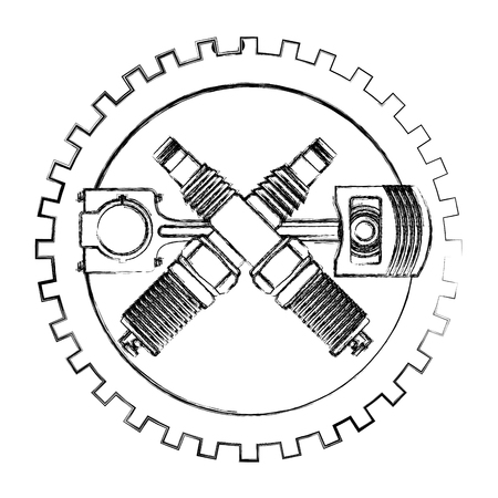 industry automotive piston and spark plugs gear mechanic vector illustration hand drawing Ilustracja