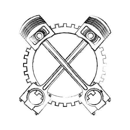 crossed pistons gear cogwheel industry automotive vector illustration hand drawing