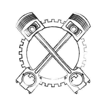 pistoni incrociati ingranaggio ruota dentata industria automobilistica illustrazione vettoriale disegno a mano