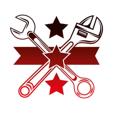 crossed adjustable wrench and spanner tools stars emblem vector illustration red neon