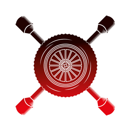 industry automotive car wheel tool repair vector illustration red neon