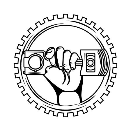 Hand, die Kolbenautoindustrie auf Zahnradvektorillustration hält