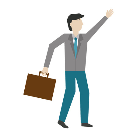 businessman with suitcase avatar character vector illustration design