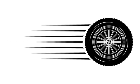 industry automotive wheel car part fast speed vector illustration Иллюстрация