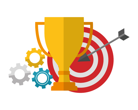 trophy award cup with target arrow success and gear machine vector illustration design 向量圖像