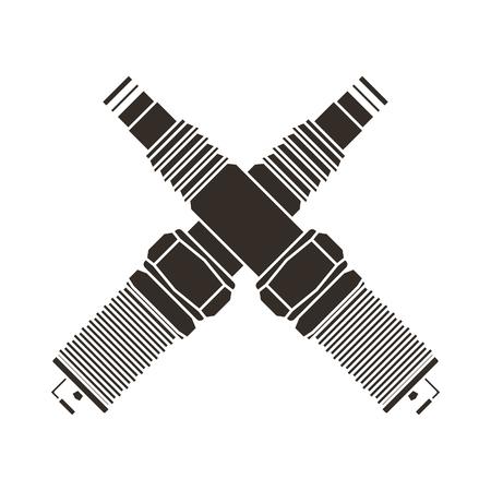 crossed spark plugs parts industry automotive vector illustration Illustration
