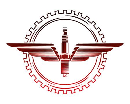 industry automotive spark plug wing gear emblem vector illustration red neon