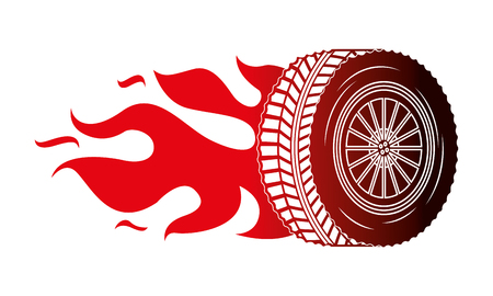 industry automotive wheel car in fire emblem vector illustration red neon
