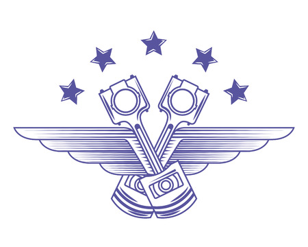 industry automotive pistons stars wings emblem vector illustration Standard-Bild - 111927521