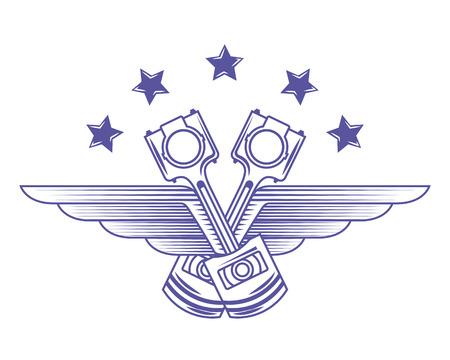 industry automotive pistons stars wings emblem vector illustration Illustration