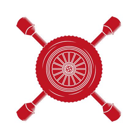 industry automotive car wheel tool repair vector illustration red neon