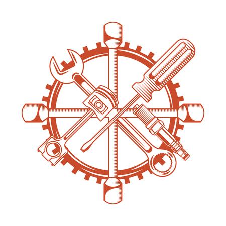 industry automotive tools wrench piston plug screwdriver gear vector illustration Vettoriali
