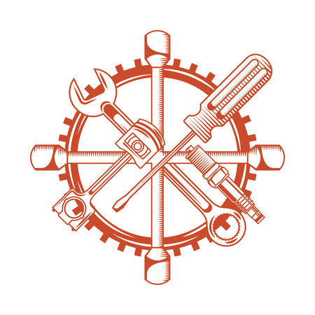 industry automotive tools wrench piston plug screwdriver gear vector illustration Stock Illustratie