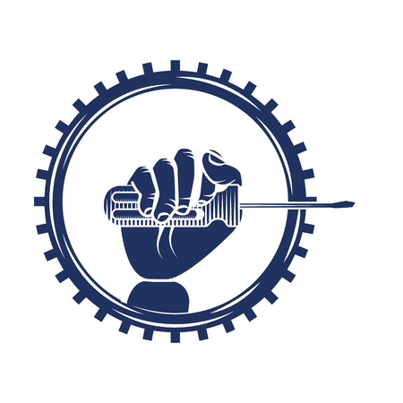 hand holding screwdriver on gear engine mechanical vector illustration