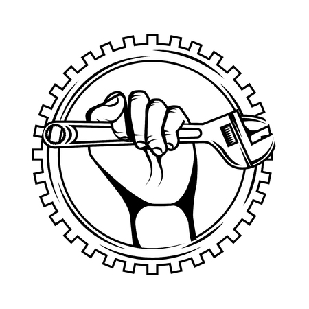 hand holding adjustable wrench tool gear repair vector illustration