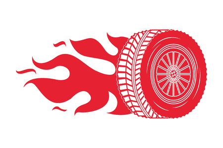 industry automotive wheel car in fire emblem vector illustration Ilustração