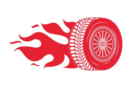 industry automotive wheel car in fire emblem vector illustration Illustration