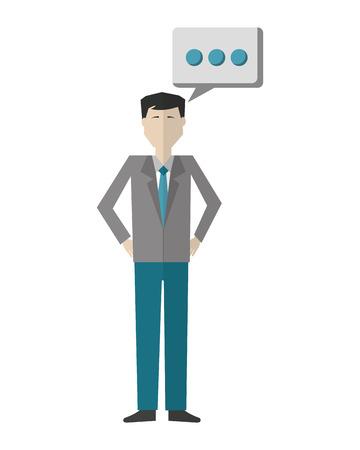 businessman with speech bubble avatar character vector illustration design