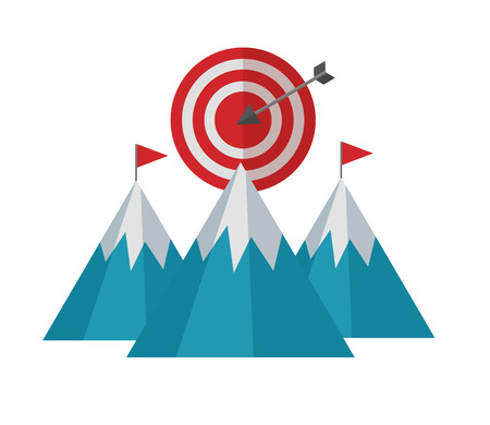 mountains with target arrow success isolated icon vector illustration design Çizim