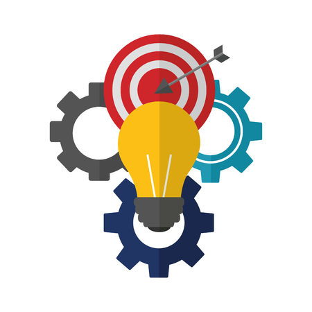 light bulb with gear machine and target arrow success vector illustration design 向量圖像