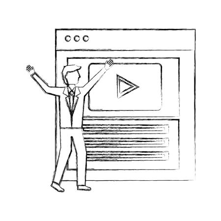 businessman website video player button vector illustration hand drawing Illustration