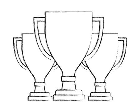 three award trophy winner prize success vector illustration hand drawing