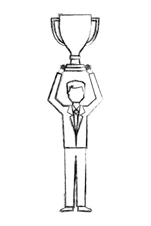 Empresario sosteniendo el trofeo ganador del premio ilustración vectorial dibujo a mano