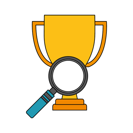 trophy award cup with magnifying glass vector illustration design Stock Illustratie