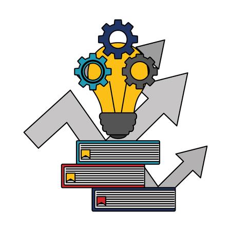 light bulb with pile books isolated icon vector illustration design Ilustração