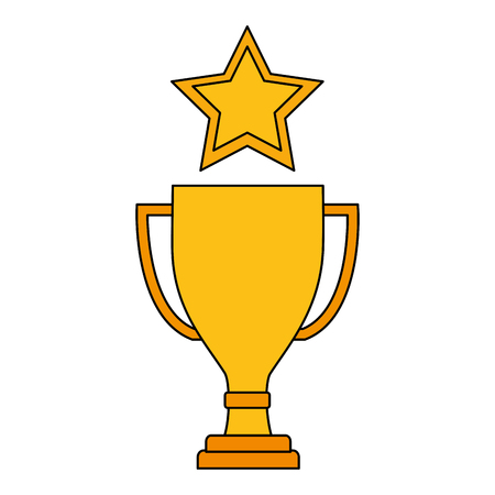 trophy award cup with star isolated icon vector illustration design
