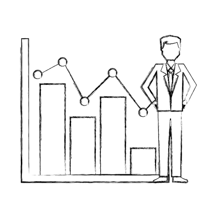 businessman with statistics bar chart pointed line vector illustration hand drawing