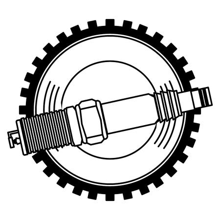 illustration vectorielle de l & # 39; industrie des pièces de rechange de bougie d & # 39; allumage