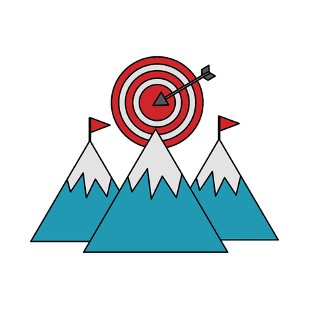 mountains with target arrow success isolated icon vector illustration design Stok Fotoğraf - 106559280