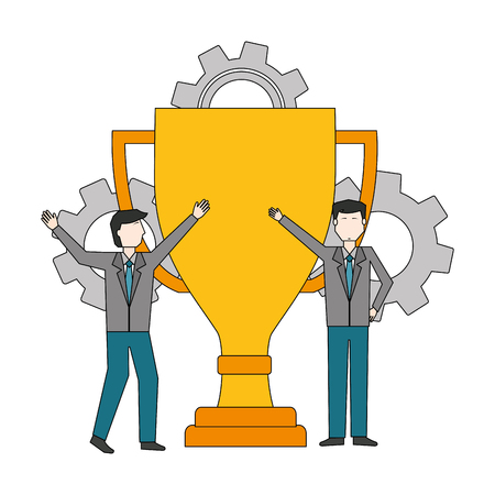 businessmen with trophy cup and gear machine vector illustration design