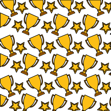 trophy award cup with star pattern vector illustration design
